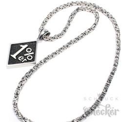 Edelstahl Anhänger 1%er Onepercenter outlaw silber gold + Königskette Biker 1%