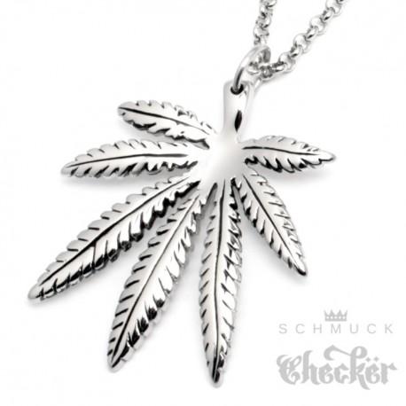 Hochwertiger Edelstahl Anhänger Hanfblatt Cannabis Marihuana silber + 60cm Kette