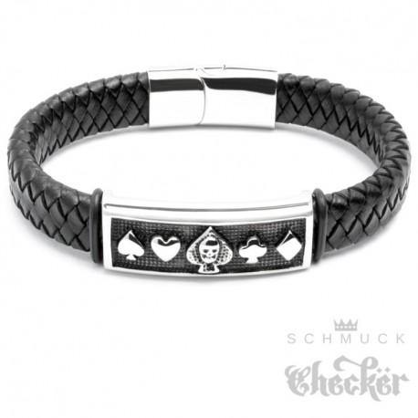 Echt Leder Herren Armband schwarz Edelstahl Poker Symbole Zocker Biker Rocker