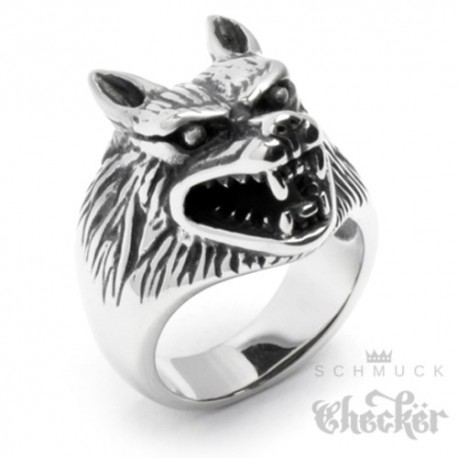 Massiver Edelstahl Biker Ring silber hochwertig Wolf Wolfskopf Indianer