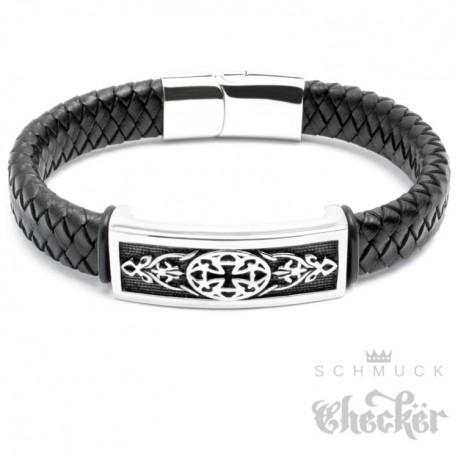 Echt Leder Herren Armband schwarz Edelstahl Eisernes Kreuz verziert Biker Rocker Harley