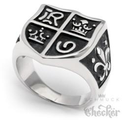Mittelalterlicher Siegelring Edelstahl Herren Ritter Ring Herrscher Wappen Lilie