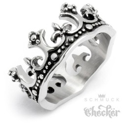 Edelstahl Damen Herren Ring Krone König King verziert detailliert silber 3D