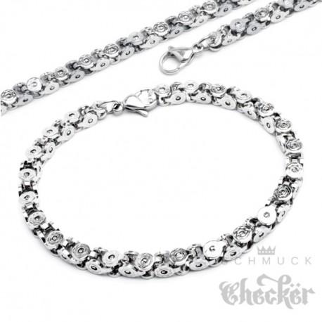 Königskette Halskette + Armband Set Edelstahl silber Tech Geschenk 60cm 22cm