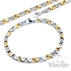 Königskette Halskette + Armband Set Edelstahl silber gold Tech Geschenk 60cm 22cm