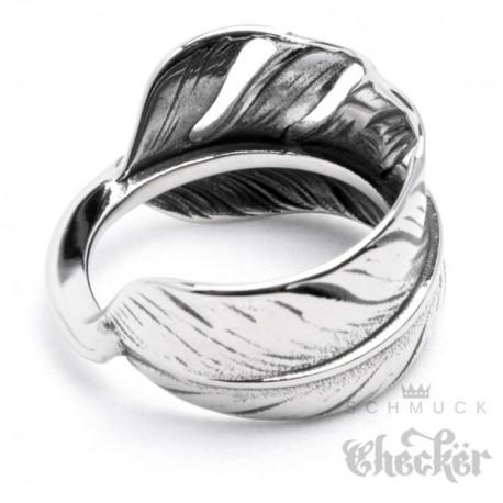 Edelstahl Ring Feder silber detailliert filigran Indianer Hippie Biker