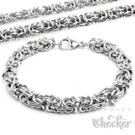 Edelstahl Damen Herren Armband Königskette 1000 Ringe silber