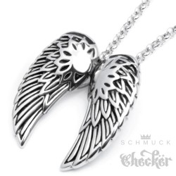 Hochwertiger Edelstahl Anhänger silber zwei Flügel Engel Wings + Halskette