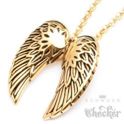 Hochwertiger Edelstahl Anhänger gold zwei Flügel Engel Wings + Halskette