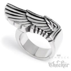 Massiver Flügel-Ring aus Edelstahl silber groß schwer Frfeiheit Männer Bikerring
