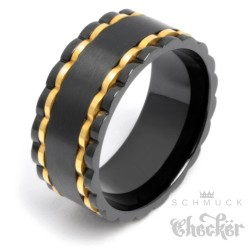 Massiver besonderer Edelstahl Herren Männer Ring schwarz gold Hochwertig 10mm