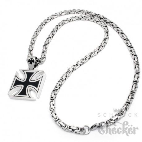 Edelstahl Anhänger Eisernes Kreuz schwarz silber massiv + 60cm Königskette Biker