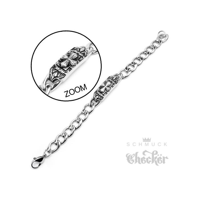 02310d8728e5 ... Edelstahl Schildarmband hochwertige Armkette Panzerkette silber Kreuz  22cm Biker ...