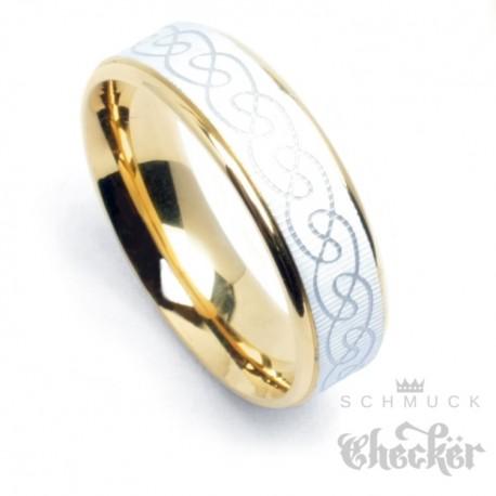 Edelstahl Herren Damen Ring keltischer Knoten gold silber mit Perlmutt Schimmer