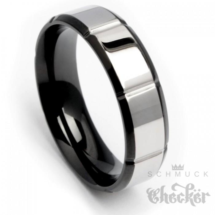 edelstahl herren ring hochwertig silber schwarz kerben. Black Bedroom Furniture Sets. Home Design Ideas