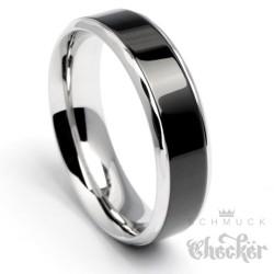 Zeitloser Herrenring aus Edelstahl in schwarz & silber Ring schick Facettenschliff