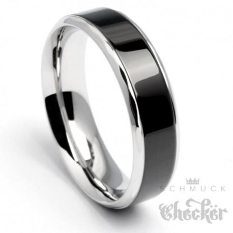Edelstahl Herren Damen Ring schwarz silber hochwertig Facettenschliff Zeitlos
