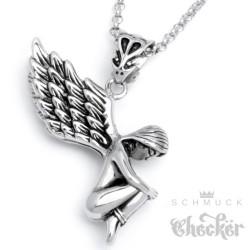 Edelstahl Anhänger nackter Engel Flügel gefesselt schön silber + Halskette Kette