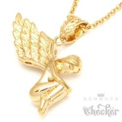 Edelstahl Anhänger nackter Engel Flügel gefesselt schön gold + Halskette Kette
