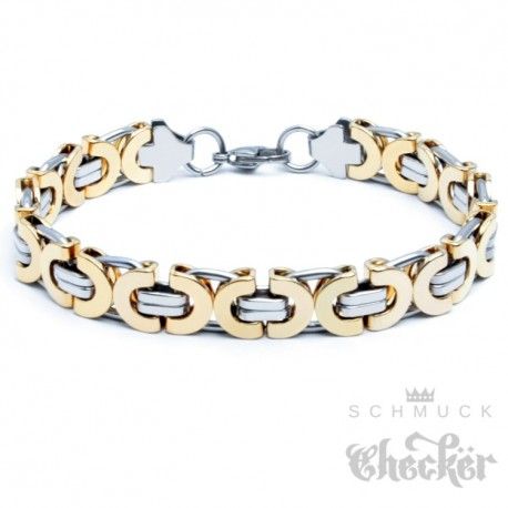 Edelstahl Männer Armband siber und gold Königskette Armkette hochwertig Hiphop Biker