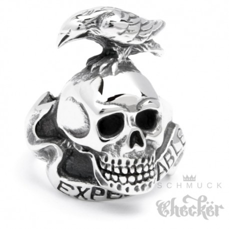 Edelstahl Ring The Expendables Totenkopf Rabe Actionheld Actionfilm Gothic Biker