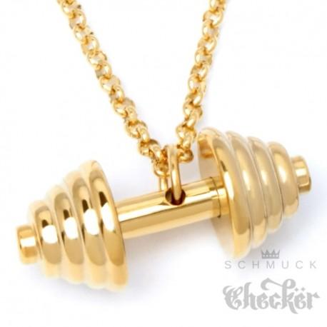 Edelstahl Anhänger Hantel Gewicht Fitness Sport Bodybuilder Schmuck gold + Halskette