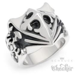 Edelstahl Ring Lilie Kreuz Wappenschild Schwert silber massiv Mittelalter Gothic Siegelring