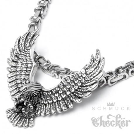 Edelstahl Anhänger massiv detailliert silber Vogel Adler mit Flügeln Eagle Biker