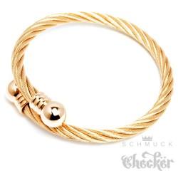 Flexibler Stahlseil Armreif aus Edelstahl gold vergoldet Damen Herren Geschenk