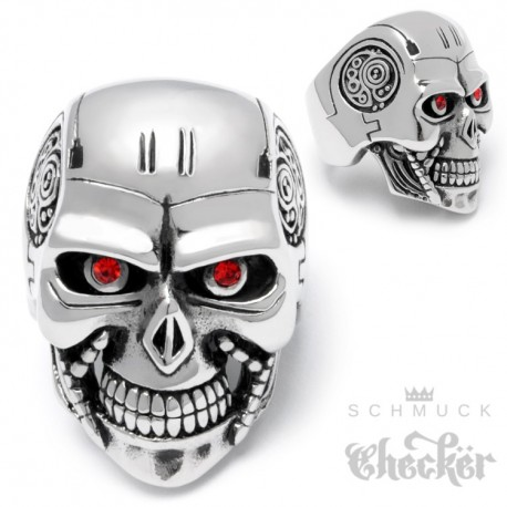 Edelstahl Terminator Ring Totenkopf groß silber massiv Actionheld Actionfilm Biker