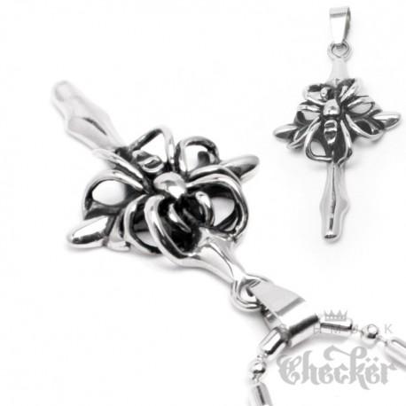 Edelstahl Herren Ketten Anhänger Silber Kreuz mit Spinne Spider Gothic Biker +Halskette