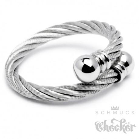 Edelstahl Ring Damen Herren flexibel silber ausgefallen Stahlseil Wickelring