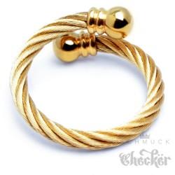 Edelstahl Ring Damen Herren flexibel gold ausgefallen Stahlseil Wickelring