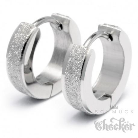 Edelstahl Ohrringe Klapp-Creolen silber diamantiert funkelnd schmal dünn 13mm Ø