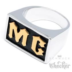 Massiver Edelstahl Biker Ring MC Motorradclub silber gold Herren